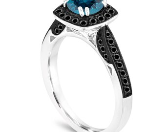 Halo Pave Blue Diamond Engagement Ring, Platinum Wedding Ring, With Black Diamonds Ring 1.17 Carat Certified