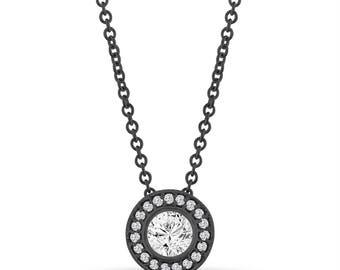 Vintage Style Diamond Pendant Necklace, Black Gold Pendant, 0.42 Carat Halo Bezel And Micro Pave Set Handmade