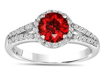 1.00 Carat Fancy Red Diamond Engagement Ring, Halo Engagement Ring, Bridal Ring, 14K White Gold Pave Certified Handmade