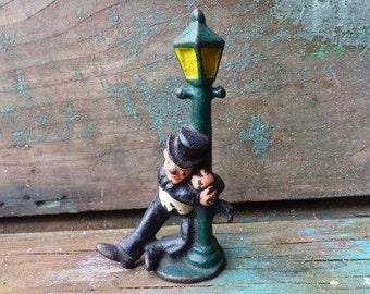 Vintage bottle opener Cast iron drunk man and lamp post  Bar barware Kitchen