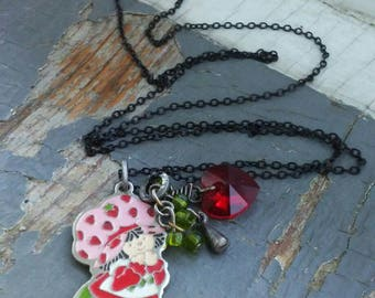 Strawberry Shortcake - vintage 80s metalwork and enamel charm, faceted crystal heart & glass beaded necklace