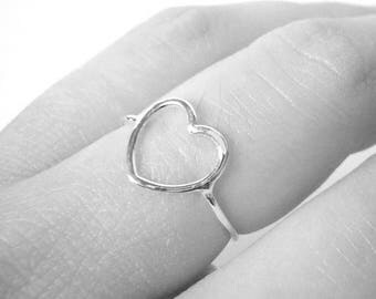 Open heart ring Sterling Silver heart ring • Romantic gift for her