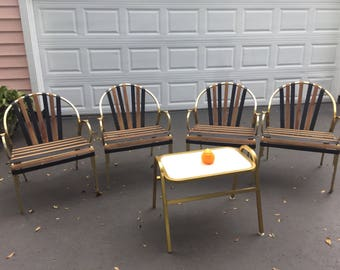 GOLD ALUMINUM PATIO Chairs and Table, Set of 4, Black and Orange Patio Chairs, Gold Tone Aluminum Chairs, Mid Century Modern at Modern Logic