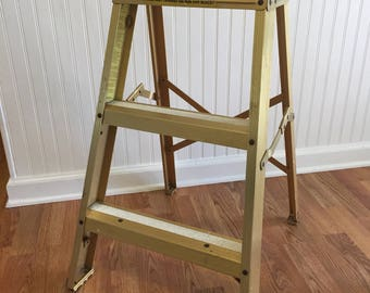 GOLD TONE ALUMINUM Ladder, Aluminum Ladder, Aluminum Step Stool, Gold Step Stool, Gold Aluminum Ladder, Gold, Photo Prop at Modern Logic