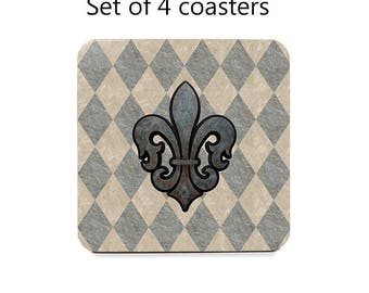 Rustic Coaster Set, Fleur De Lis Drink Coasters, Set Of 4, Tan,