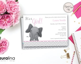 Printable Baby Girl Elephant Shower Invite ~ Digital Shower Invitation ~ Baby Girl ~ Baby Boy
