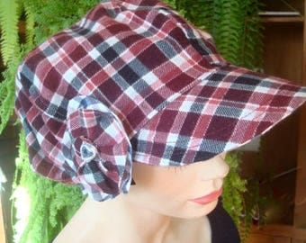 womens hat reversible cotton soft hat peak newsboy oversize slouchy made from vintage pattern
