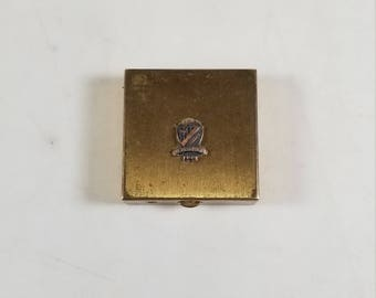 Vintage Beta Sigma Phi Sorority Gold Tone Trinket Box Jewelry Box Vita Scientia Amicitia