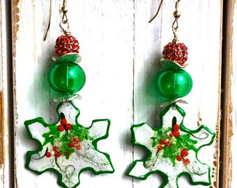 Holly & Berry Snowflakes