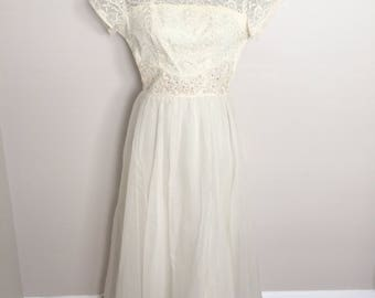 Vintage 50s 50's Beaded Chiffon & Lace Wedding Dress Bridal Gown