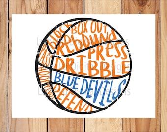 Basketball - BLUE DEVILS scribble BASKETBALL, Digital Cut Files