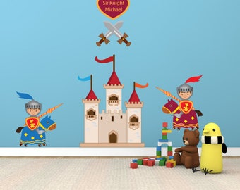 Kids Wall Decal, Castle Knight Wall Decal Non-toxic REUSABLE Fabric Wall Decals Boy Decal, A2311