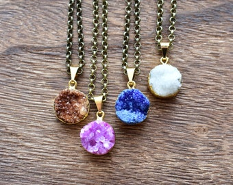 Colorful Gold Brass Round Druzy Necklace/ Druzy Quartz Round Necklace/ Quartz Druzy Summer Necklace/ Gemstone Bohemian Necklace (EP-BNQ15)