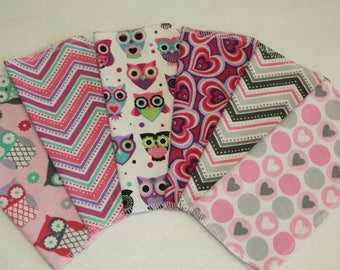36 Cloth Baby Wipes - Pink Owls and Hearts with Dotted Chevron - 3 Dozen Flannel Wipes - Select Own Designs