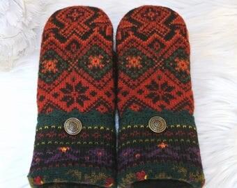 Norwegian Mittens ~ Red, Orange, Black & Green 100% Wool Women's Recycled Sweater Mittens