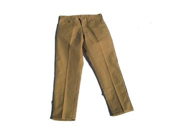 "Ochre Slacks | 33"" waist high waist pleated linen vintage 70s pants trousers unisex women men straight leg preppy kitsch large XL 12 34"