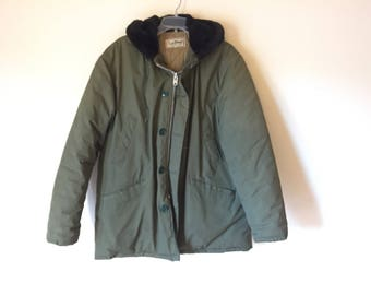LL Bean DOWN coat | olive green vintage hooded silver metal zipper faux fur military green mens UNISEX large extra large warm jacket kitsch