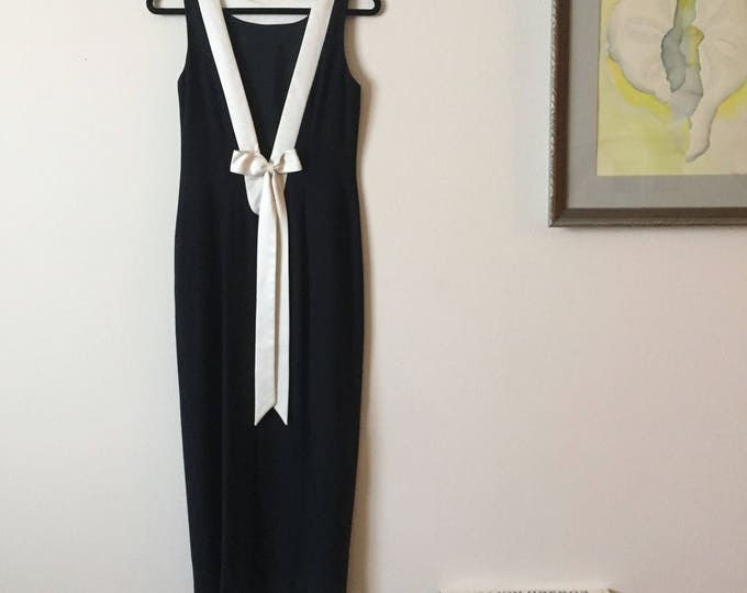Exposed Back Maxi | S/M navy blue boat neck nautical ivory cream satin trim plunging V back long cocktail event formal 80s preppy vintage
