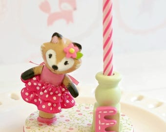 Fox Cake Topper,1st Birthday Cake Topper Girl, Finger Puppet Toy, Baby Shower Cake Topper, Birthday Candle Cake Topper, Happy Birthday Cake