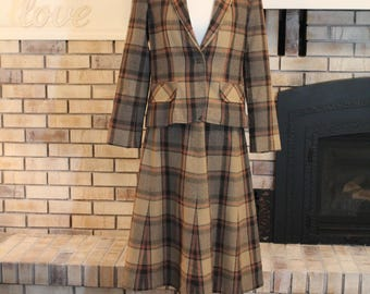 Vintage Paddle and Saddle Plaid Skirt and Jacket, Suit Coat and Skirt