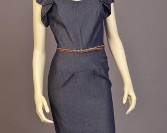 Denim Ruffled Sleeve Dress
