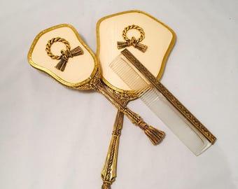 Stylebuilt Vanity Set 3 Piece Dresser Set Ormolu Hand Mirror Brush Comb Rope And Tassel
