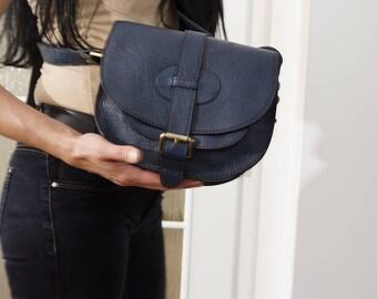 Blue Leather Saddle BAG MESSENGER Cross-body Purse Goldmann Size S