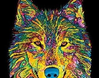 Wolf Tank Top Blacklight Neon Choose Size and Color  20143NBT2