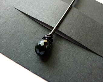 Black Spinel Bobby Pin - 8mm  - Gemstone Bobby Pin