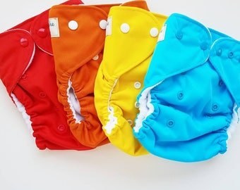 Cloth diaper cover, fleece lined, diaper cover, ready to ship, All-in-two AI2 optional, hemp insert,solid, red, orange, yellow, blue