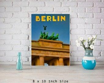 Berlin Germany 8x10 Art Print Poster Retro Vintage Style Travel Poster City Art Brandenburg Gate