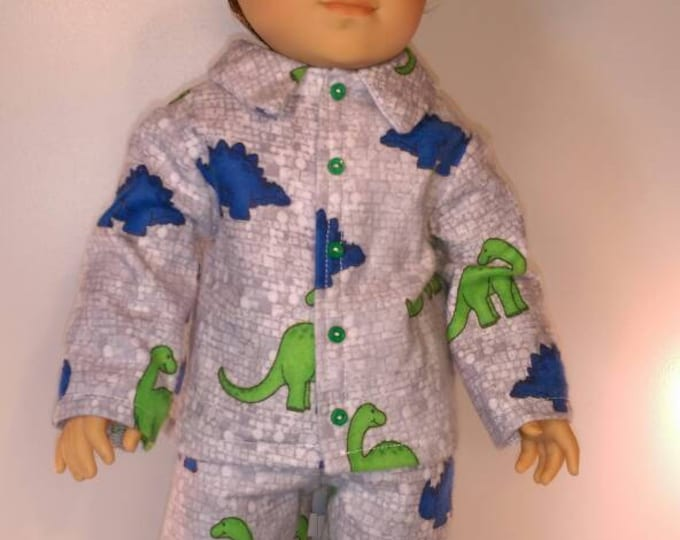 Flannel Dinosaur print boy doll pajamas for 18 inch dolls boy, girl