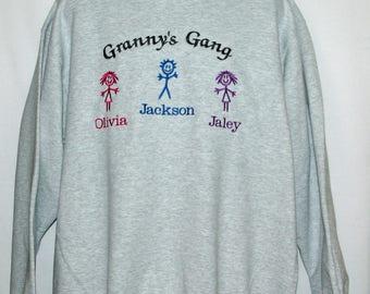 Grannys Gang Sweatshirt, Custom Personalize Grandparent Gift, With Three Grandkids Name, Nanny, Meema, Grans, No Shipping Fee, AGFT 1218