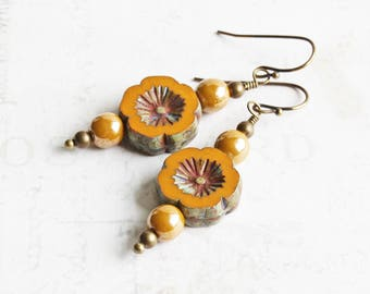 Mustard Yellow Flower Dangle Earrings on Antiqued Brass Hooks