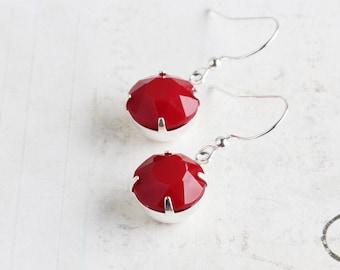 Opaque Red Round Rhinestone Earrings on Silver Plated Hooks (Vintage Rhinestones)