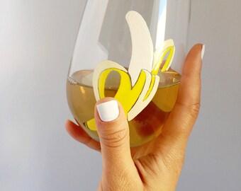 Banana Hand Painted Wine Glass