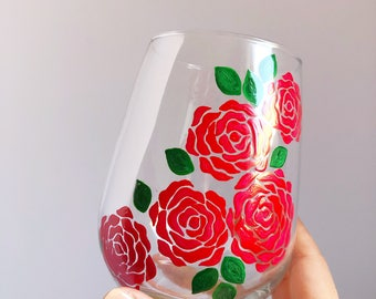 Red Roses Hand Painted Wine Glass