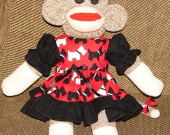 Sock Monkey, Red Heel Sock Monkey, Sock Monkey with Scotty Dog Dress, New Baby Gift, Gift, Baby Shower Gift, Nursery Decor