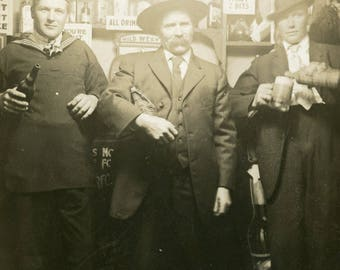 Drunken Sailor with Two WESTERN GENTLEMEN at Saloon Novelty Arcade Studio Photo Postcard circa 1910