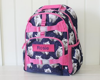 Large Size Pottery Barn Backpack With Monogram -- Navy Pretty Kitty