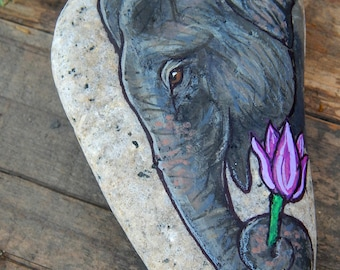 ELEPHANT Painted Stones Sacred Art Totem Animals Spirit Guides Wildlife ART Indian Elephants Hand Painted Rocks Lotus and Nightshade