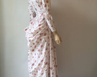 Rare early Laura Ashley 1970s vintage floral print milkmaid dress with bustle and leg of mutton sleeves