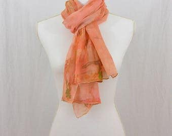 Hand Painted Chiffon Silk Scarf, Salmon, Watercolor Scarf, Abstract Scarf, Gift for her, One of a kind, Earthy, Mori Girl
