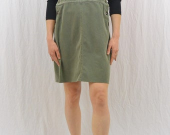 Vintage Army Green Jumper, Size Small, Corduroy Details, Indie Clothing, Hipster, 90's, Grunge, OOAK, Mori Girl, Natural Kei, Overall Dress