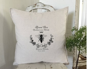 French Bee Pillow | Farmhouse Decor | Cottage Decor | French Bee Happy | Throw Pillow | Farmhouse Decor