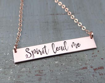 Spirit Lead Me Inspirational Hand Stamped Christian Bar Necklace. 14k Gold Filled, Rose Gold Filled, Sterling Silver.