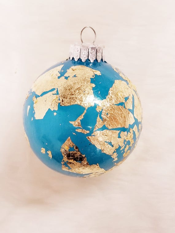Gold foil leaf ornament blue glass world map inspired travel globe gold foil leaf ornament blue glass world map inspired travel globe theme present for him her wanderlust holiday christmas present decor gumiabroncs Choice Image