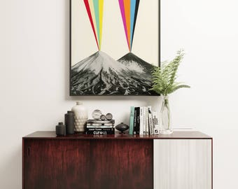 Volcano Print, Abstract Landscape Art - Volcanos