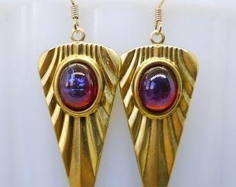 Dragon Fire // Art Deco Statement Earrings with 1950s Vintage Mexican Fire Opal Dragon's Breath Flapper Gypsy Goth Bohemian Bohochic Retro