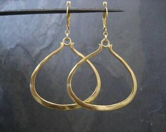 Triangular earrings, hoop earrings, triangle dangle, gold hoops, asymmetrical earrings